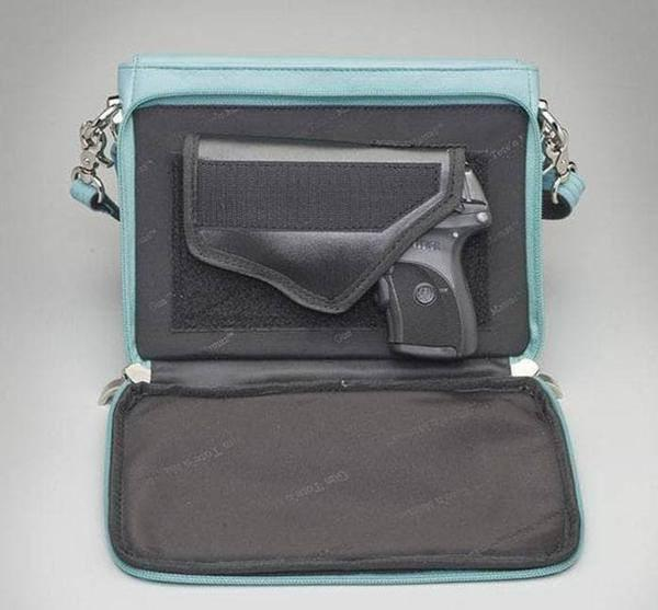 GTM-10 Embroidered Lambskin Ice Blue Open with Gun