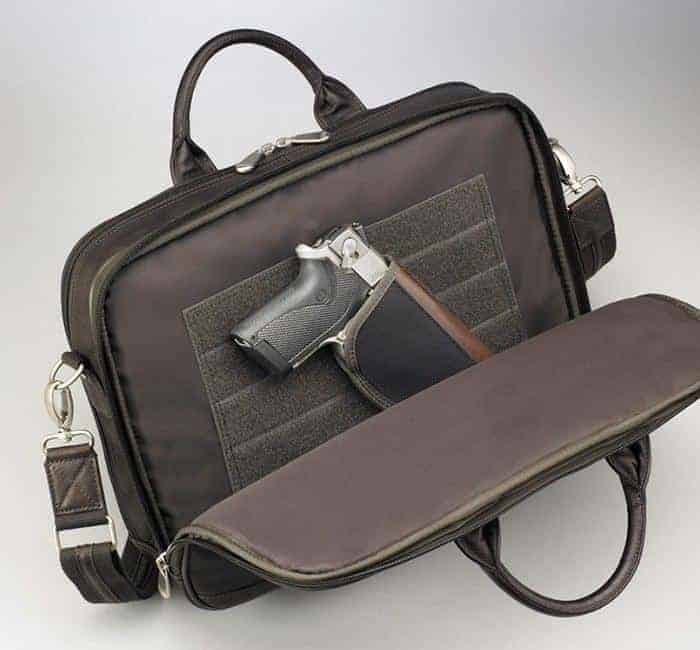 GTM-155 BRN Men's Concealed Carry Briefcase Open with Gun