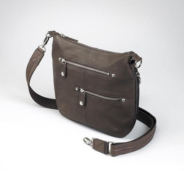 GTM-23 BK Chrome Zip Handbag Brown