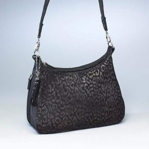 Concealed Carry Basic Hobo Handbag Debossed Sueded Leather