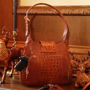 Crocodile Print Leather Hobo Back With Gun