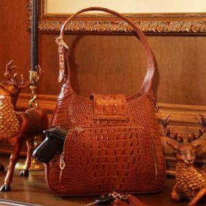 Crocodile Print Leather Hobo Back With Gun