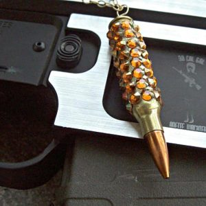 "Bullet Jewelry – ""Bling Bang"" Bullet Necklace. Winchester .223 Case Covered In Crystal Copper Swarovski Crystals"