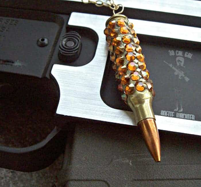 "Bullet Jewelry - ""Bling Bang"" Bullet Necklace. Winchester .223 Case Covered in Crystal Copper Swarovski Crystals"