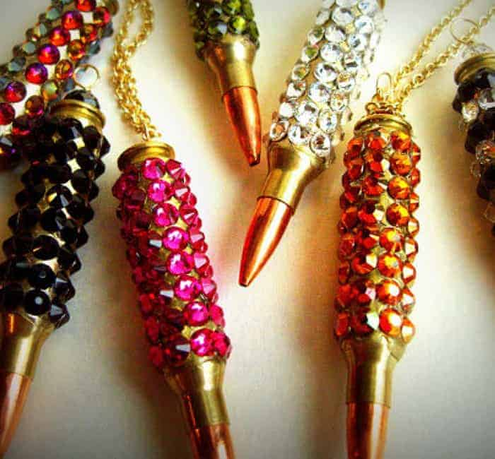 "Bullet Jewelry – ""Bling Bang"" Bullet Necklace. Winchester .223 Case Covered In Volcano Swarovski Crystals"