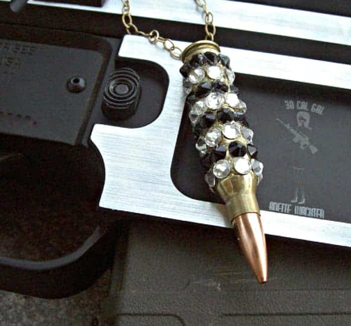"Bullet Jewelry – ""Bling Bang"" Bullet Necklace. Winchester .223 Case Covered In Jet/Crystal Swarovski Crystals"