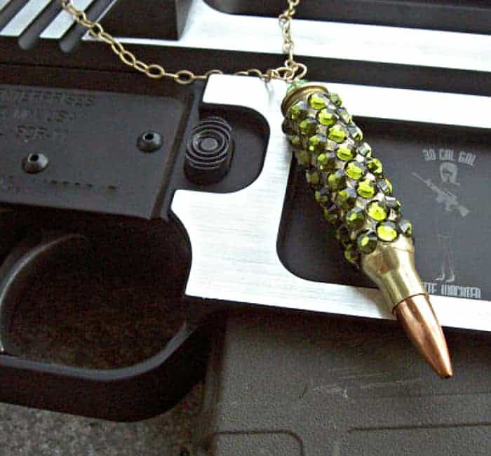 "Bullet Jewelry – ""Bling Bang"" Bullet Necklace. Winchester .223 Case Covered In Olivine Swarovski Crystals"
