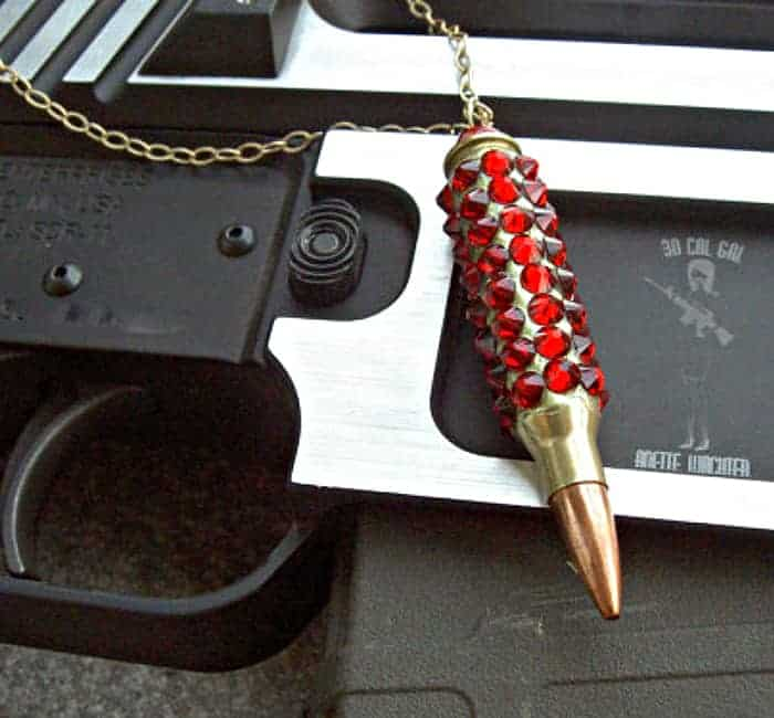 "Bullet Jewelry – ""Bling Bang"" Bullet Necklace. Winchester .223 Case Covered In Siam Swarovski Crystals"