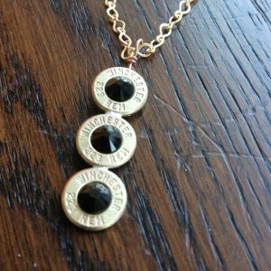 Handmade Personalized Triple .223 Caliber Case Necklace Black