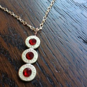 Handmade Personalized Triple .223 Caliber Case Necklace Red