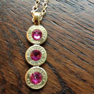 Handmade Personalized Triple .223 Caliber Case Necklace Pink