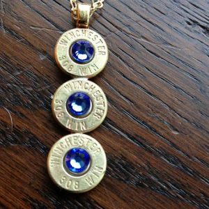 Handmade Personalized Triple .308 Caliber Bullet Drop Necklace With Jet Swarovski Crystals