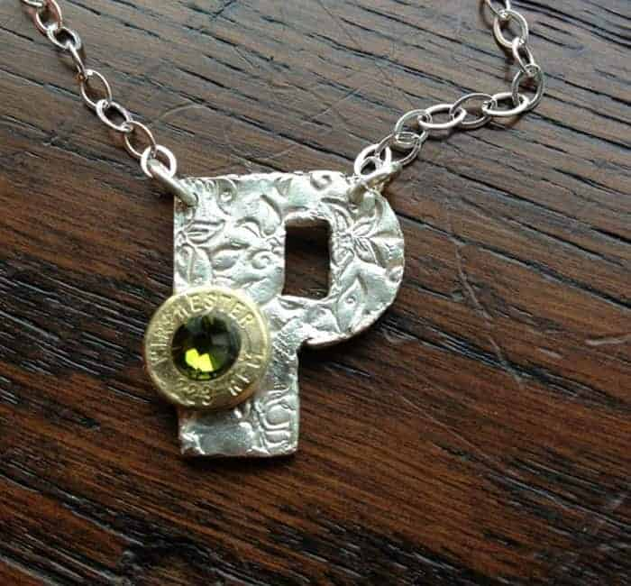 Handmade Personalized Initial Necklace With Bullet Caliber Case And Rhinestone