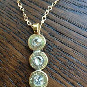 Handmade Personalized Triple .223 Caliber Bullet Necklace Jewelry Clear