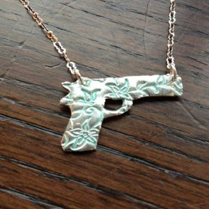 Gun Jewelry Embossed 1911 Pistol Gun Pendant Necklace Of Recycled Fine Silver