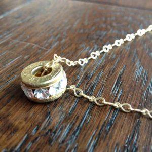 Handmade Caliber Bullet Gun Crystal Sandwich Pendant Necklace With Swarovski Crystals