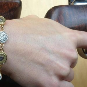 Handmade .308 Caliber Brass And Clear Rhinestone Bracelet Jewelry Made From Bullets