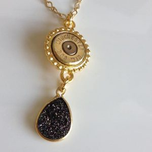 Gorgeous Handmade Caliber Bullet Necklace With Druzy Drop Pendant