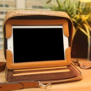 Ostrich Print Leather Tablet Case