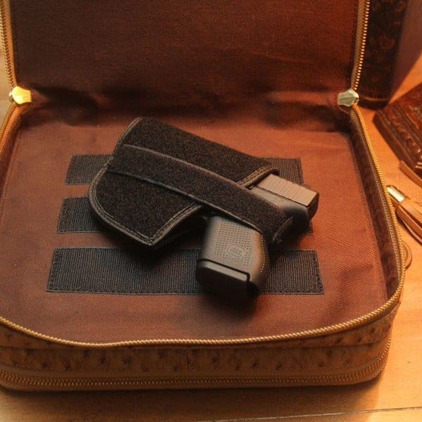 Ostrich Print Leather Tablet Case with Gun