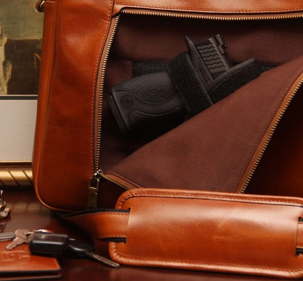 Concealed Cary Aged Brown Briefcase with Gun