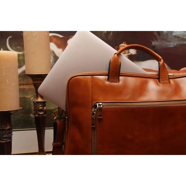 Concealed Cary Aged Brown Briefcase Back