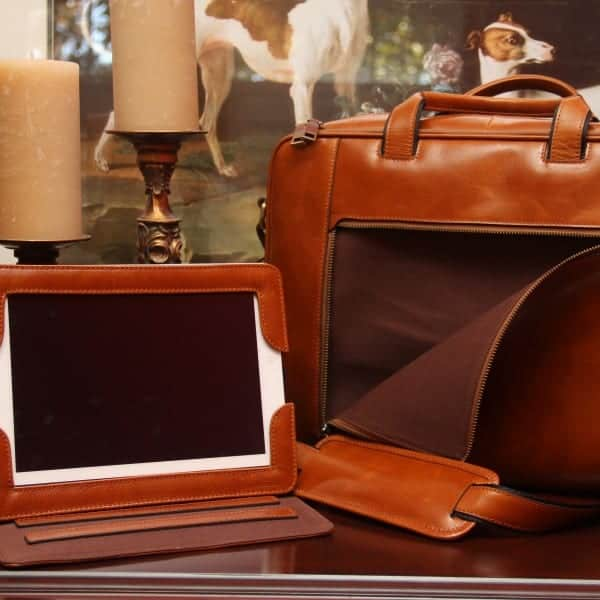 Concealed Cary Aged Brown Briefcase with iPad