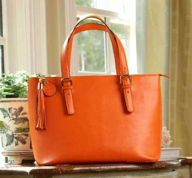 Smooth Pumpkin Leather Tote