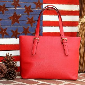 Smooth Red Leather Tote