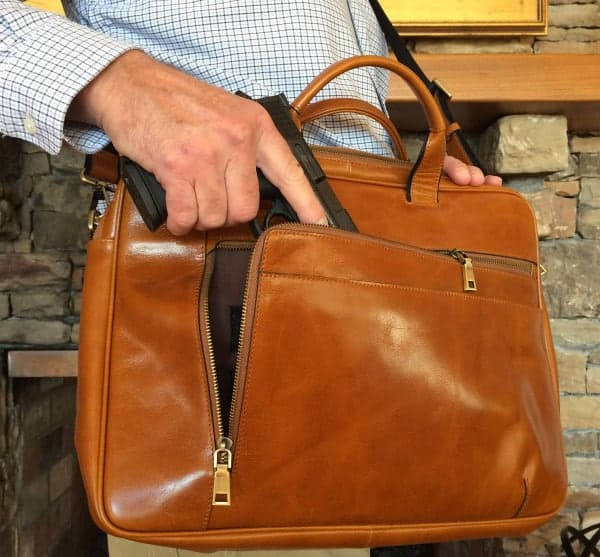 Concealed Cary Aged Brown Briefcase Action With Gun