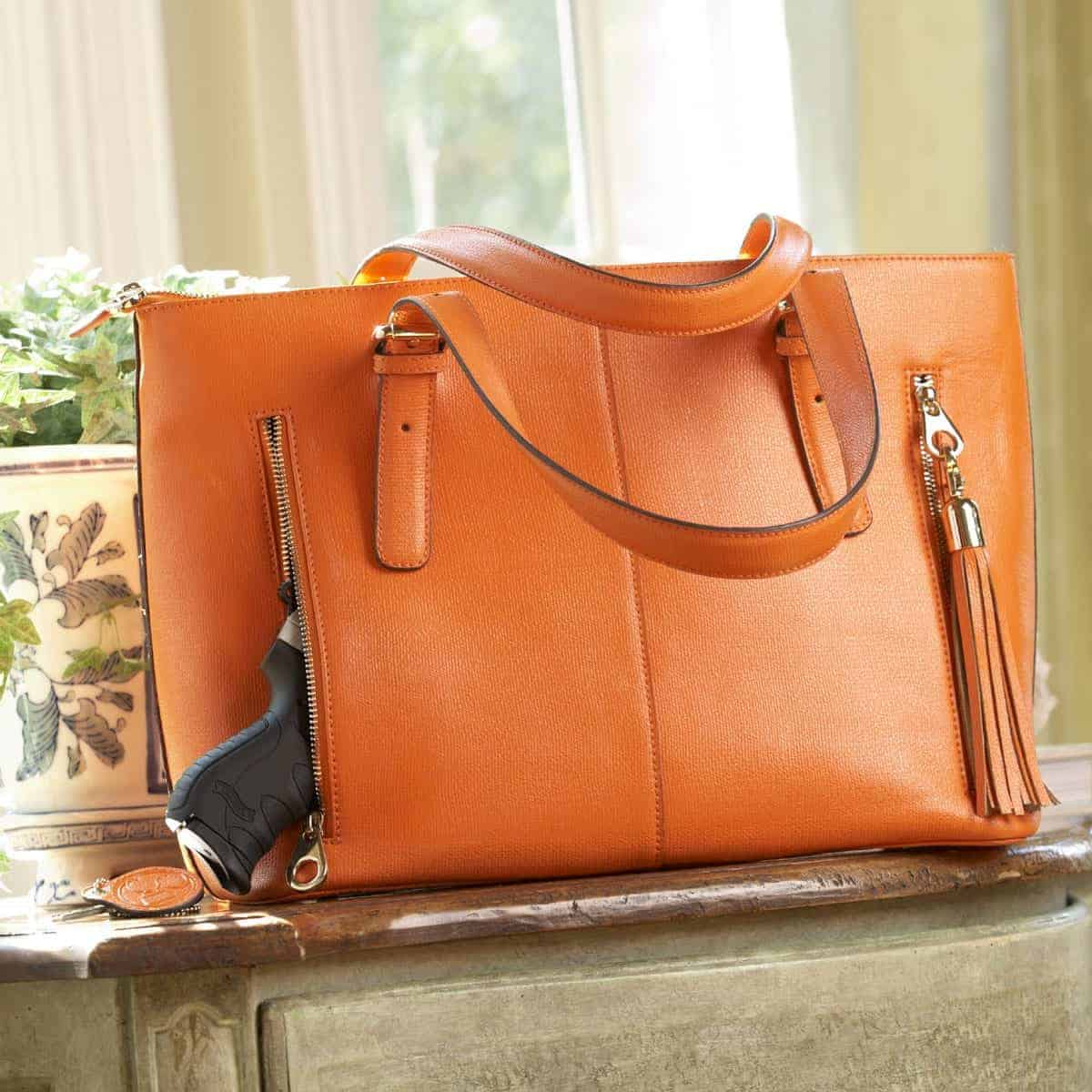 Smooth Pumpkin Leather Tote 1 0