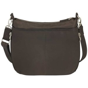 GTM-23 BRN Chrome Zip Handbag Brown