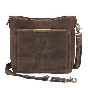 Distressed Leather Slim X-Body RFID Purse
