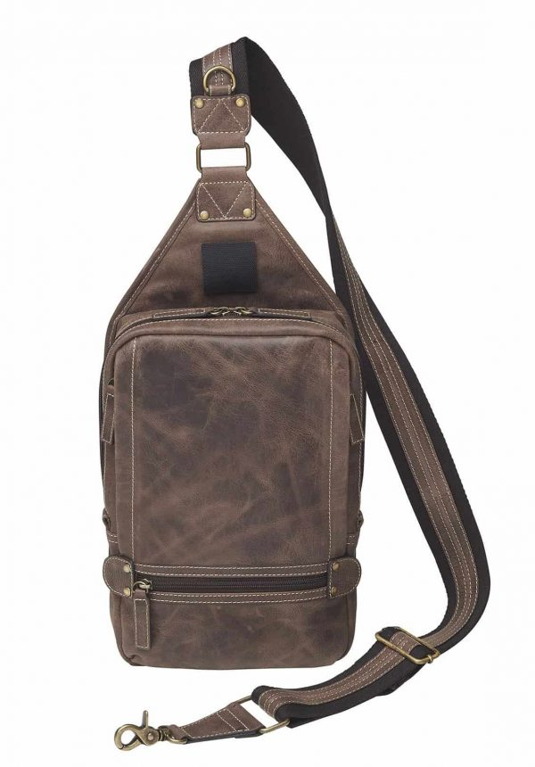 Sling Backpack NEW Distressed Buffalo Leather front