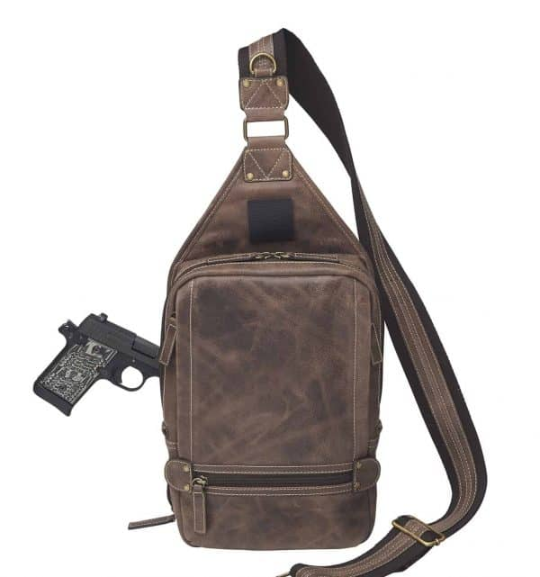 Sling Backpack NEW Distressed Buffalo Leather front pocket