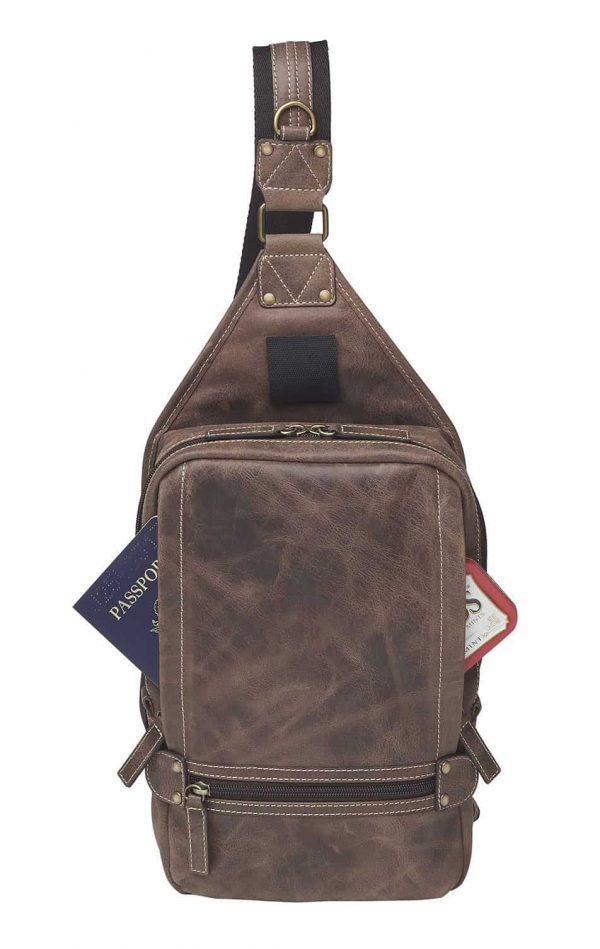 Sling Backpack NEW Distressed Buffalo Leather front pockets