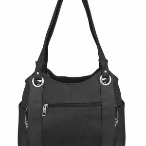 Dual Zipper Moto Leather Concealment Tote Black Back Roma Leather