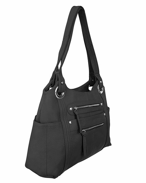 Dual Zipper Moto Leather Concealment Tote Black side Roma Leather