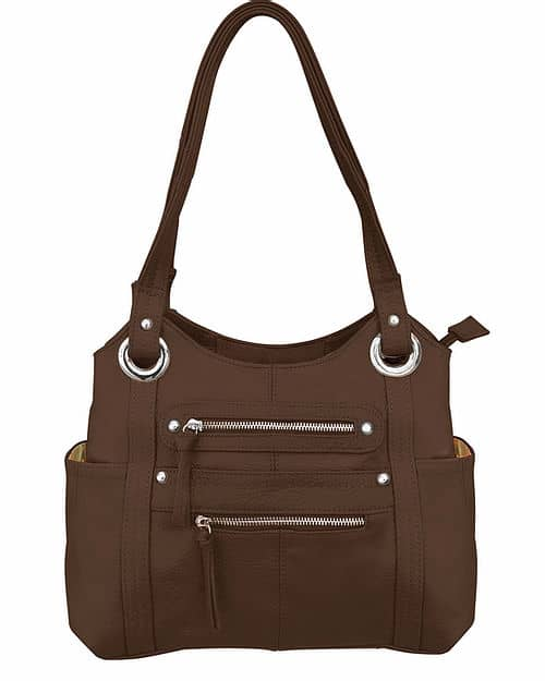 Dual Zipper Moto Leather Concealment Tote Brown Roma Leather