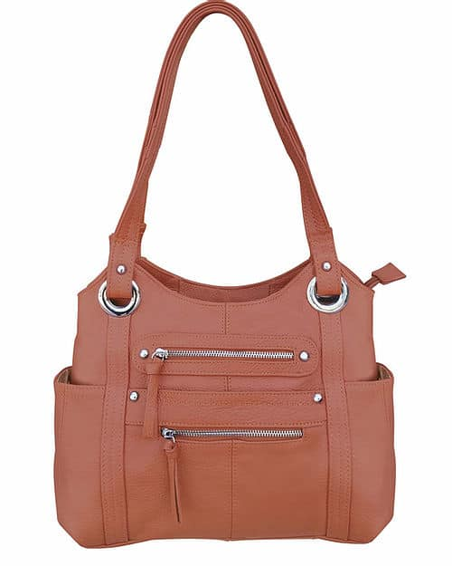 Dual Zipper Moto Leather Concealment Tote Light Brown Roma Leather