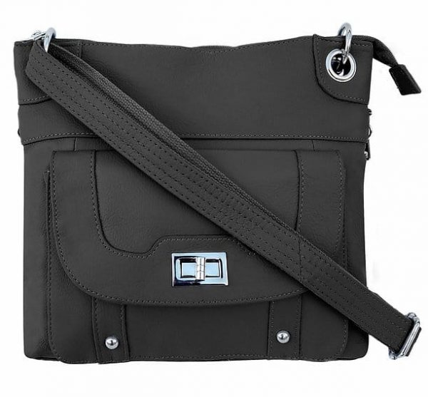 Essential Leather Concealment Crossbody Bag Black Roma Leathers