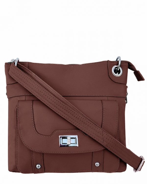 Essential Leather Concealment Crossbody Bag Brown Roma Leathers