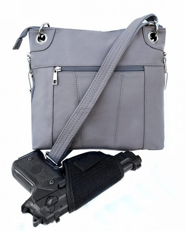 Essential Leather Concealment Crossbody Bag Gray Back Holster Roma Leathers