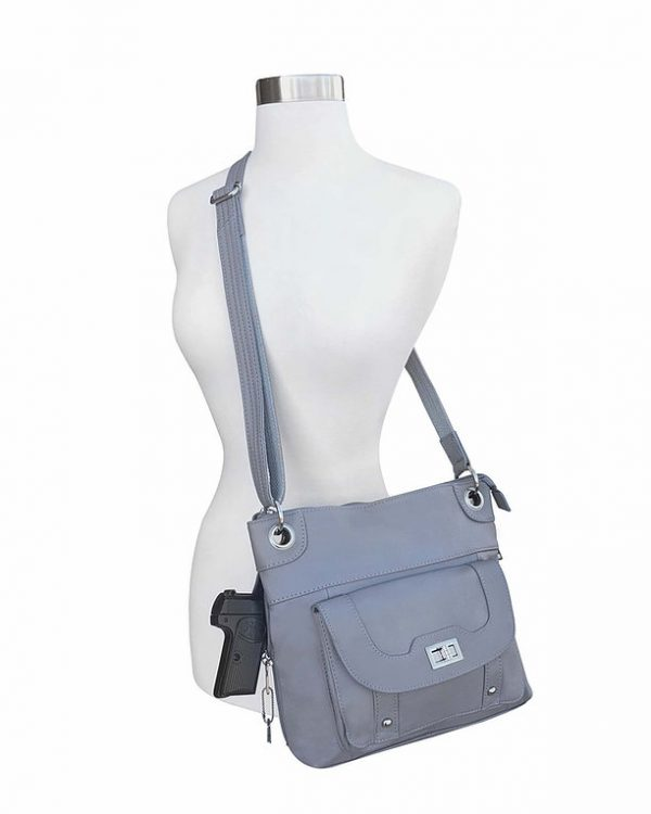 Essential Leather Concealment Crossbody Bag Gray Full Roma Leathers