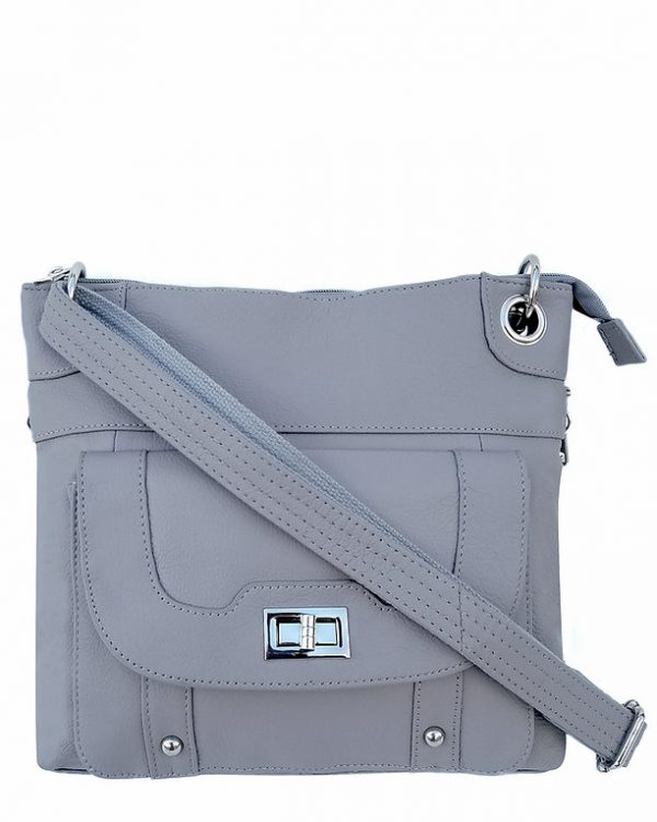 Essential Leather Concealment Crossbody Bag Gray Roma Leathers