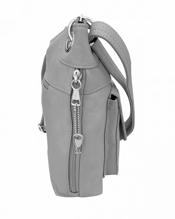 Essential Leather Concealment Crossbody Bag Gray Side 2 Roma Leathers