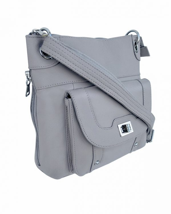 Essential Leather Concealment Crossbody Bag Gray Side Roma Leathers