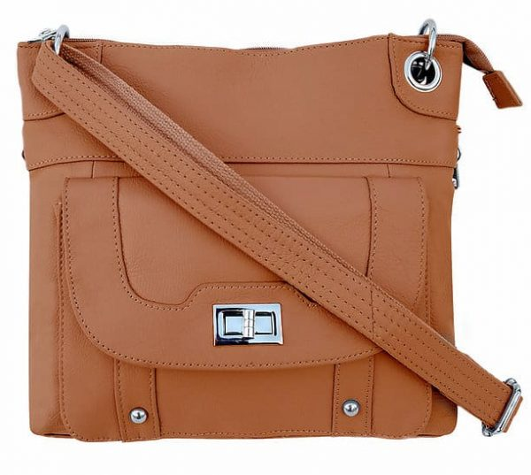 Essential Leather Concealment Crossbody Bag Light Brown Roma Leathers