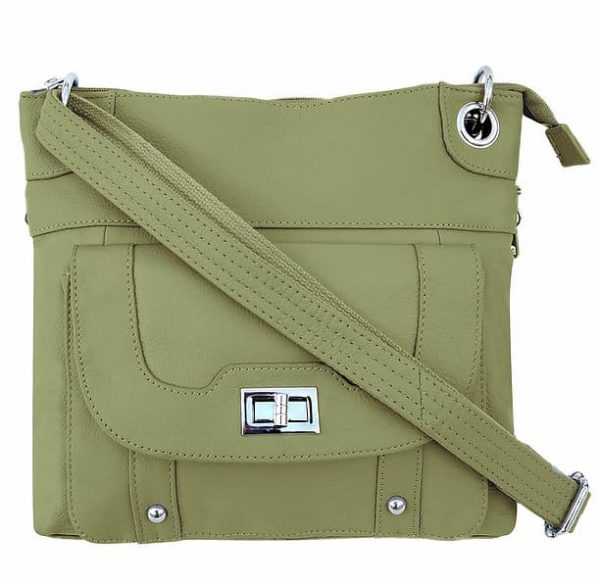 Essential Leather Concealment Crossbody Bag Light Green Roma Leathers