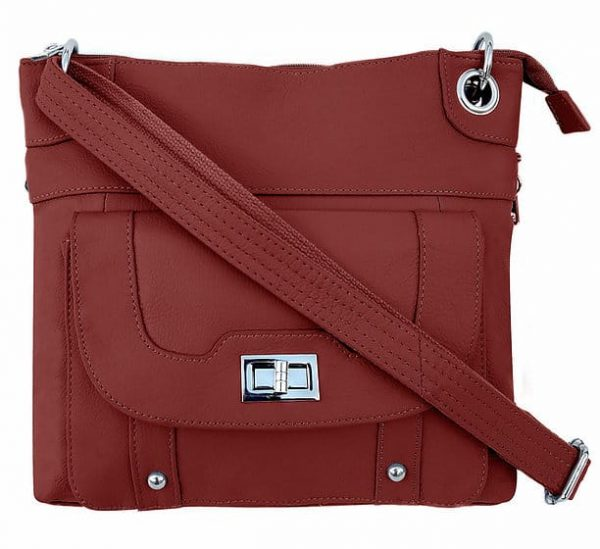 Essential Leather Concealment Crossbody Bag Red Roma Leathers